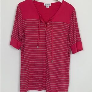 Liz Claiborne pink/grey striped top size Lg